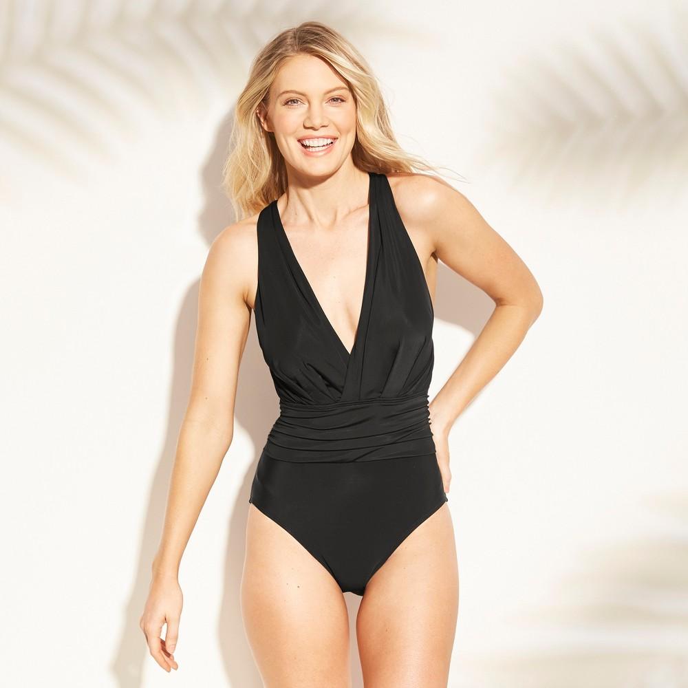 Women's Shirred Open Back One Piece Swimsuit - Aqua Green Black S