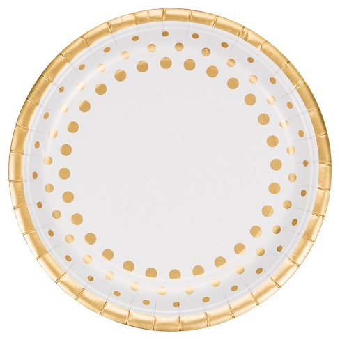 """Sparkle and Shine Gold Foil 9"""" Paper Plates - 8ct - image 1 of 2"""