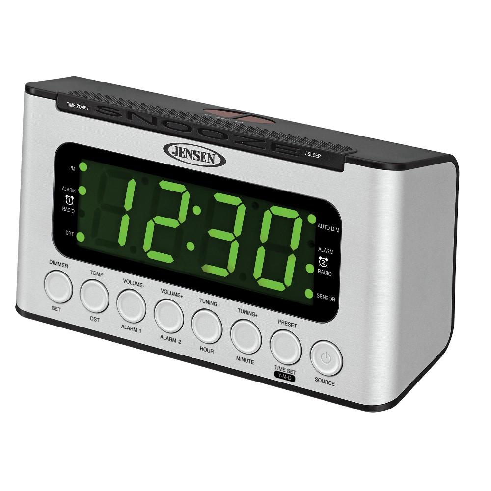 Jensen AM/FM Digital Dual Alarm Clock Radio with Led Display, Wave Sensor, Aux-in (Jcr-231), Gray