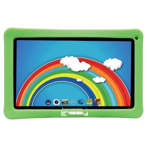 "LINSAY® 10.1"" Kids Funny Tablet 1024x600 HD Quad Core 16GB Internal Memory Bundle with Green Kids Defender Case - image 1 of 3"