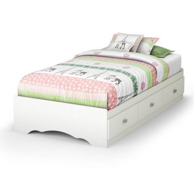 Twin Tiara Mates Bed with 3 Drawers   Pure White  - South Shore