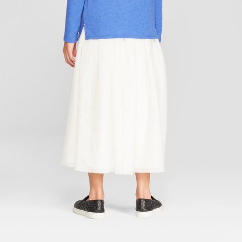 7610870001 Girls' Tulle Maxi Skirt - Cat & Jack™ Cream : Target