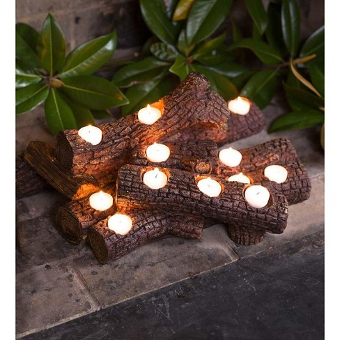 Surprising Large Resin Faux Log Fireplace Candle Holder Plow Hearth Interior Design Ideas Gentotryabchikinfo