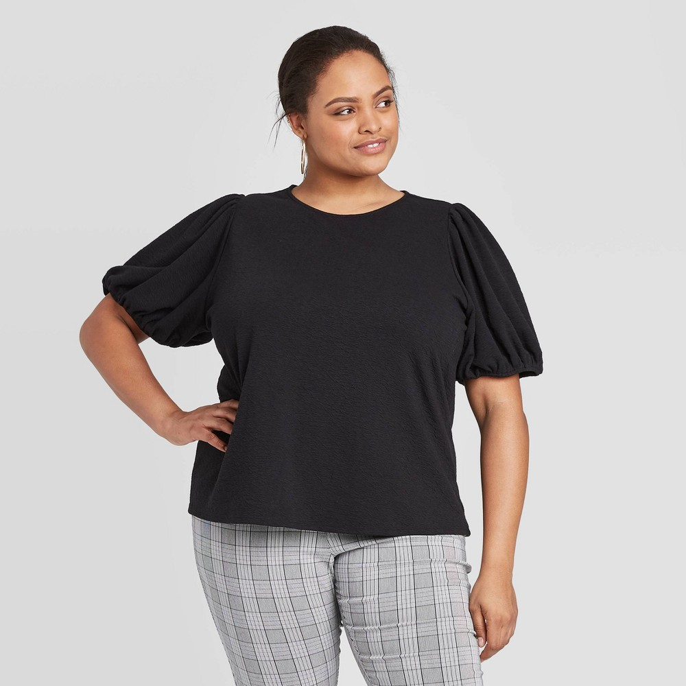 Women's Plus Size Short Sleeve Scoop Neck T-Shirt - A New Day Black 3X, Women's, Size: 3XL was $16.99 now $11.89 (30.0% off)