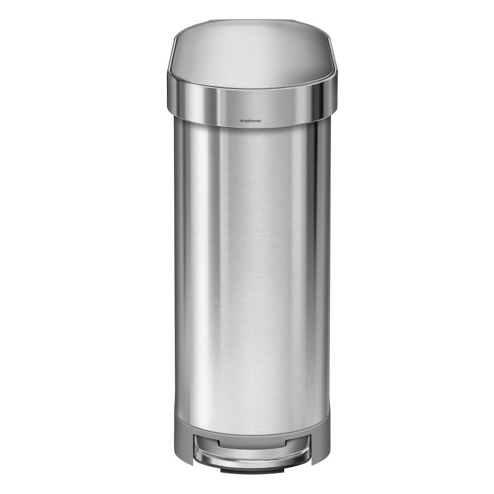 Image of simplehuman 45 ltr Slim Step Trash Can Stainless Steel, Silver