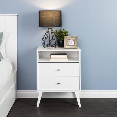 Mid Century Modern 2 Drawer Tall Nightstand with Shelf White - Prepac