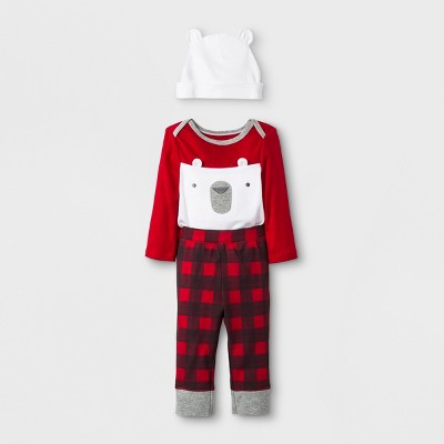 Baby Boys' 3pc Polar Bear Pants, Bodysuit and Hat Set - Cloud Island™ Red/White 03-M