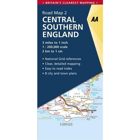 Map Of England 200.Aa Central Southern England Road Map 2 Aa Road Map Britain