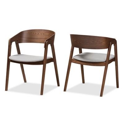 Set Of 2 Tatum Mid Century Modern Walnut Wood Fabric Dining Chairs - Baxton Studio  Target  sc 1 st  Target & Set Of 2 Tatum Mid Century Modern Walnut Wood Fabric Dining Chairs ...