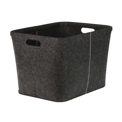 14 x15  Felt Large Rectangle Basket with Stitching Dark Gray - Project 62™