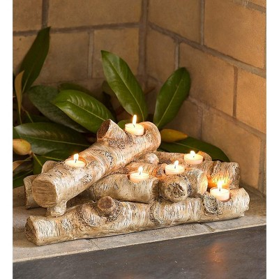 Plow & Hearth - Elegant Logs Fireplace / Hearth Candle Holder