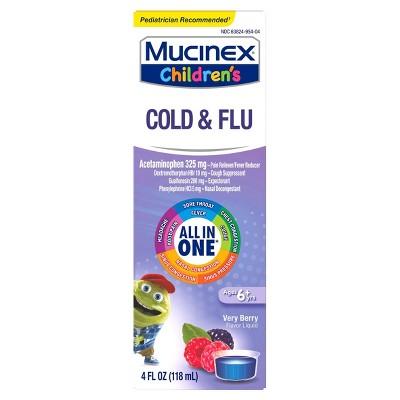 Mucinex Children's Multi-Symptom Cold and Sore Throat Relief Liquid - Very Berry - 4 fl oz