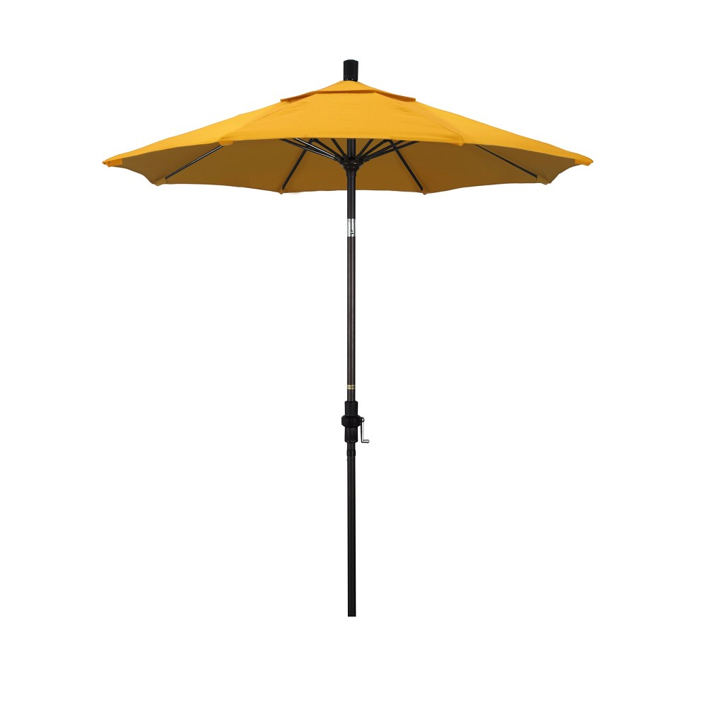 Image of 7.5' Aluminum Collar Tilt Crank Patio Umbrella - Yellow Olefin