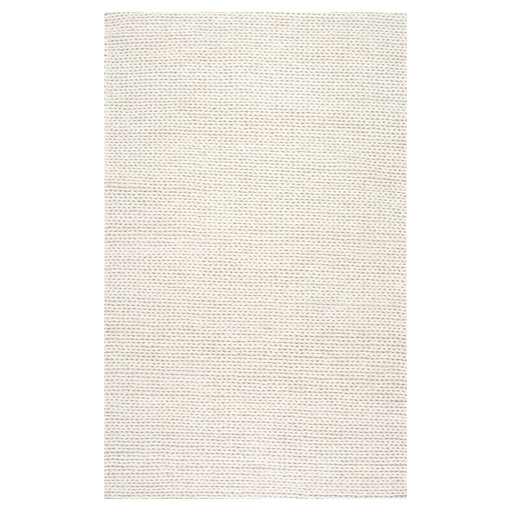 nuLOOM 100% Wool Hand Woven Chunky Woolen Cable Area Rug - White (6' x 9'), Off White