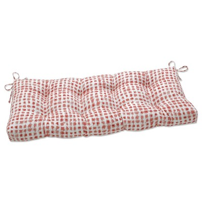 """48"""" x 18"""" Outdoor Tufted Bench/Swing Cushion Alauda Coral Isle Red - Pillow Perfect"""
