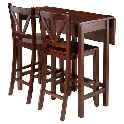 3 Piece Lynnwood Set Drop Leaf High Table With V Back Counter Stools  Wood/Walnut   Winsome