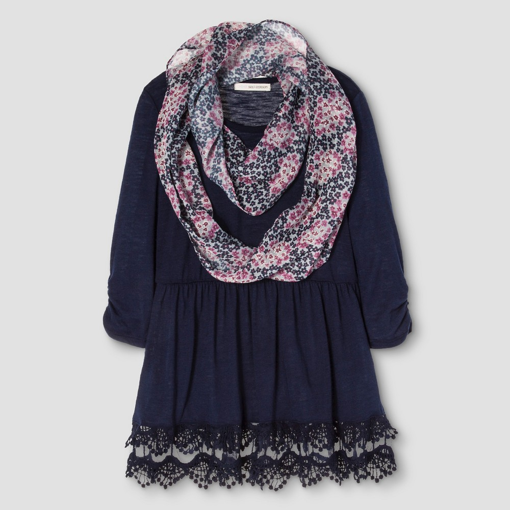 Girls' Blouse with Lace Scarf - Blue M