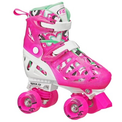 Roller Derby Trac Star Youth Kids' Adjustable Roller Skate - White/Pink