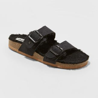 Women's Mad Love Kali Multi Strap Sherpa Footbed Sandals - Black 9