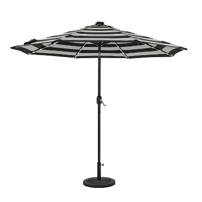 9' Mirage II Fiesta Market Patio Umbrella with Solar LED Tube Lights Black/White - Island Umbrella