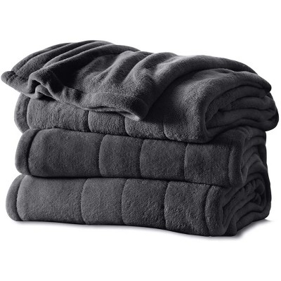 Sunbeam Twin Size Soft Microplush Heated Electric Blanket with 10 Heat Settings and Auto Shutoff, Slate