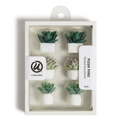 U Brands 6ct Potted Succulent Push Pins
