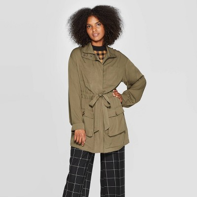 Women's Exagerated Long Sleeve Collared Jacket   Who What Wear Green by Who What Wear Green