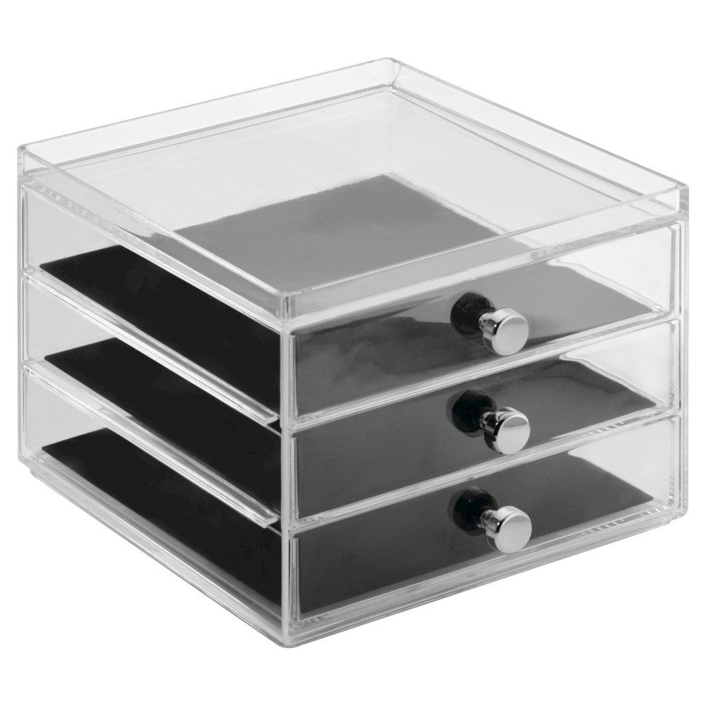 Image of Drawers Jewelry - 3 Drawer Slim, Adult Unisex, Clear Black