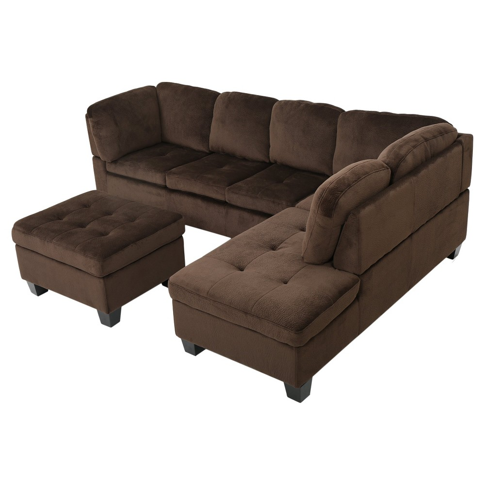 Canterbury 3-piece Fabric Sectional Sofa Set - Chocolate (Brown), Christopher Knight Home