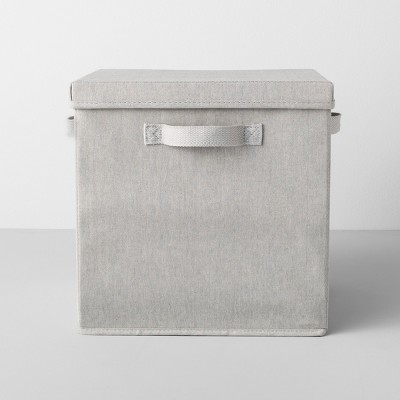 "13""x13""x13"" Deep Fabric Bin With Lid Light Gray - Made By Design™"