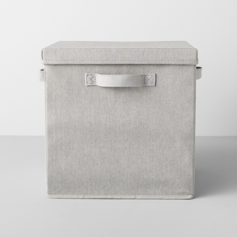 Deep Fabric Bin With Lid 13W x 13D x 13H Light Gray - Made By Design
