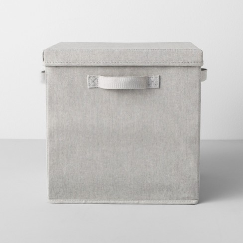 deep fabric bin with lid 13 w x 13 d x 13 h light gray made by design target. Black Bedroom Furniture Sets. Home Design Ideas