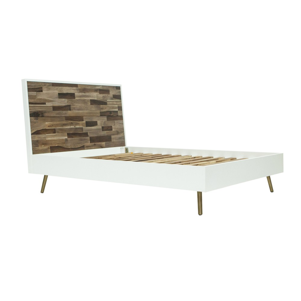 Carmel Bed with Headboard Queen - White and Brown - Keswick, Brown White