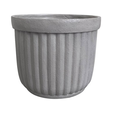 "12"" Corrugated Resin Planter Gray - Threshold™"
