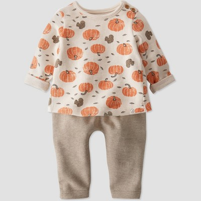 Baby Organic Cotton Pumpkin Top and Bottom Set - little planet by carter's White/Brown/Orange