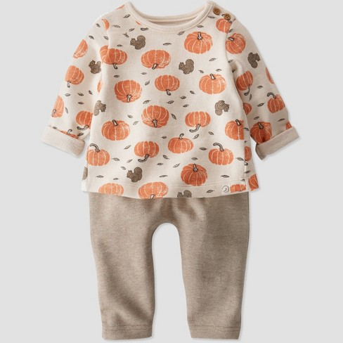 Baby Organic Cotton Pumpkin Top and Bottom Set - little planet by carter's White/Brown/Orange - image 1 of 4