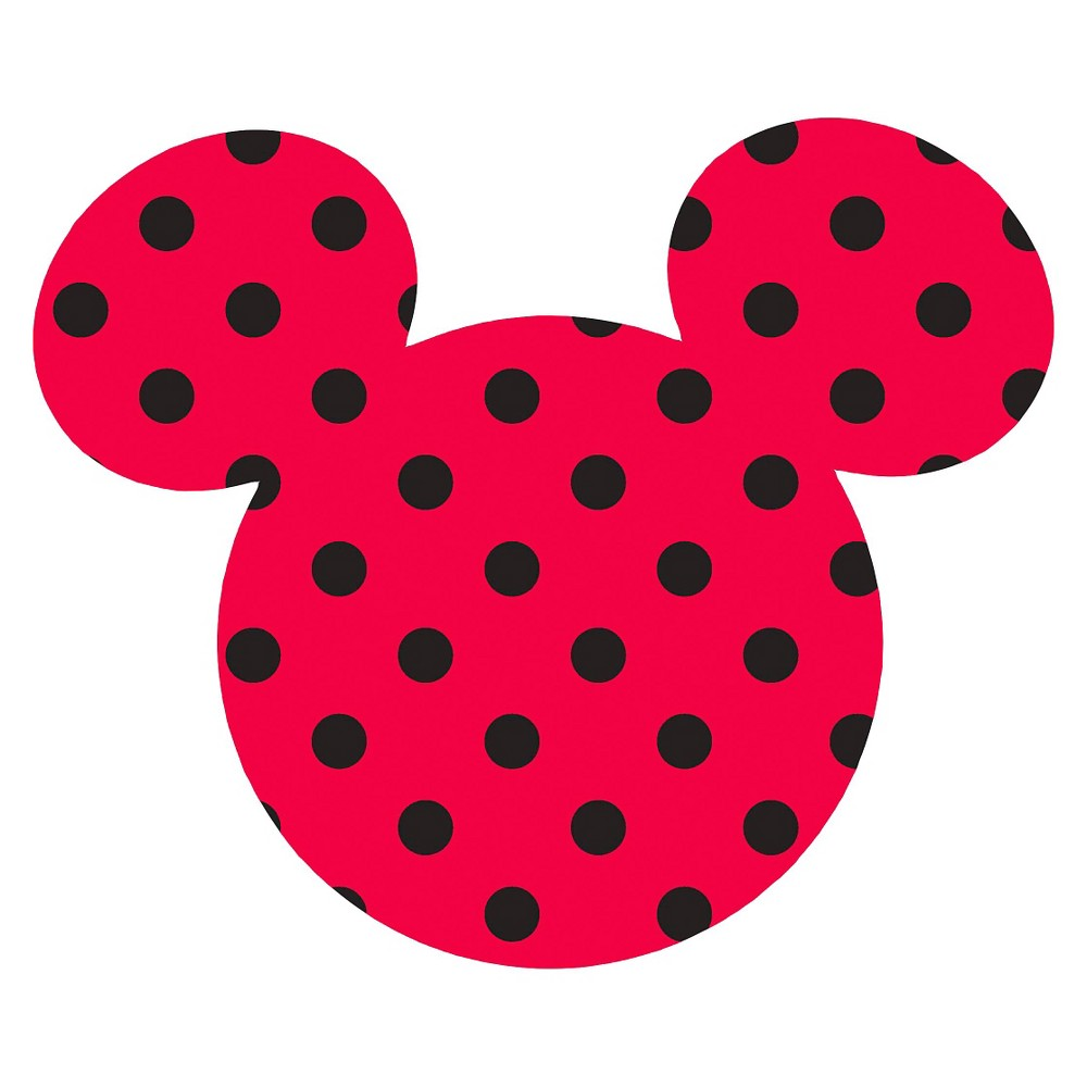 Disney Mickey Ears Large, Red with black dots, Adhesive Printed Burlap, Pack of 6