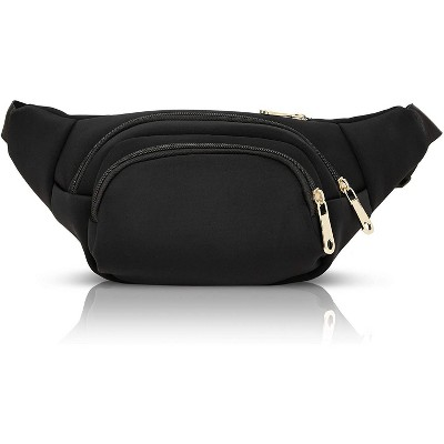 """Black Nylon Plus Size Fanny Pack for Women, Traveling Belt Bag Pouch with Adjustable Waist Strap (34""""-60"""", Expands to 5XL)"""