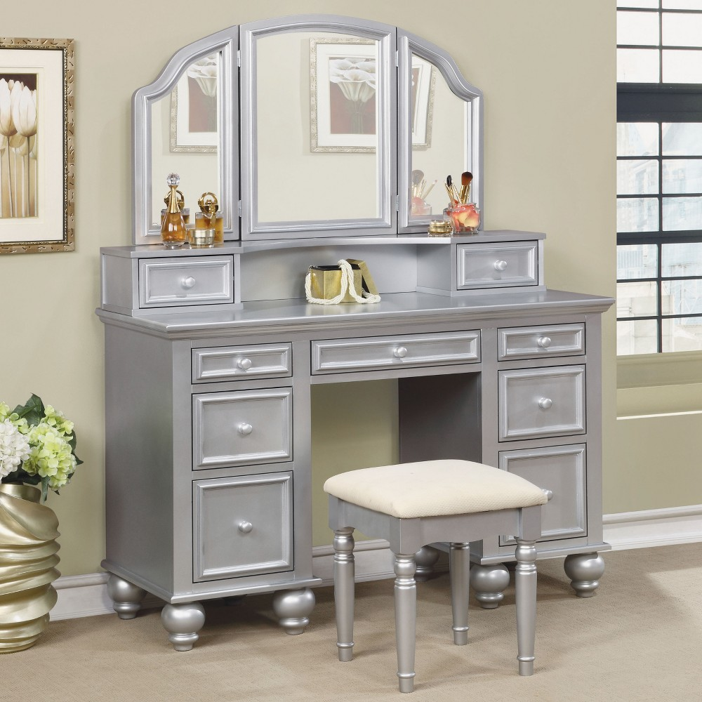 Branson Transitional Vanity Table Set Silver - Homes: Inside + Out