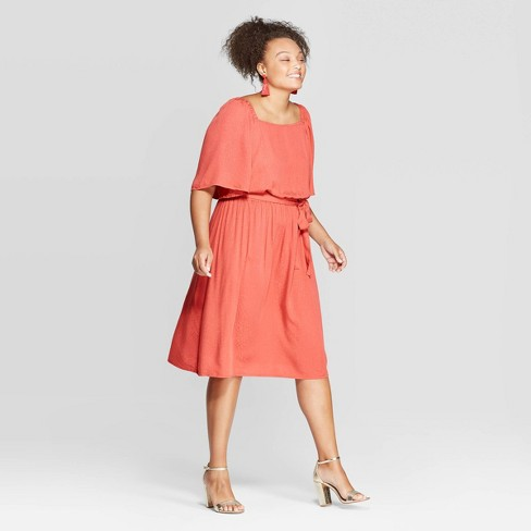 Women\'s Plus Size Short Sleeve Square Neck Midi Dress - Ava & Viv™ Coral