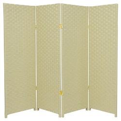 4 ft. Tall Woven Fiber Room Divider (4 Panels) - Oriental Furniture