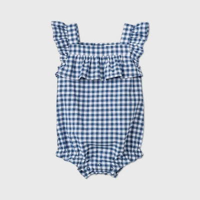 Baby Girls' Gingham Buble Romper - Cat & Jack™ Blue 0-3M