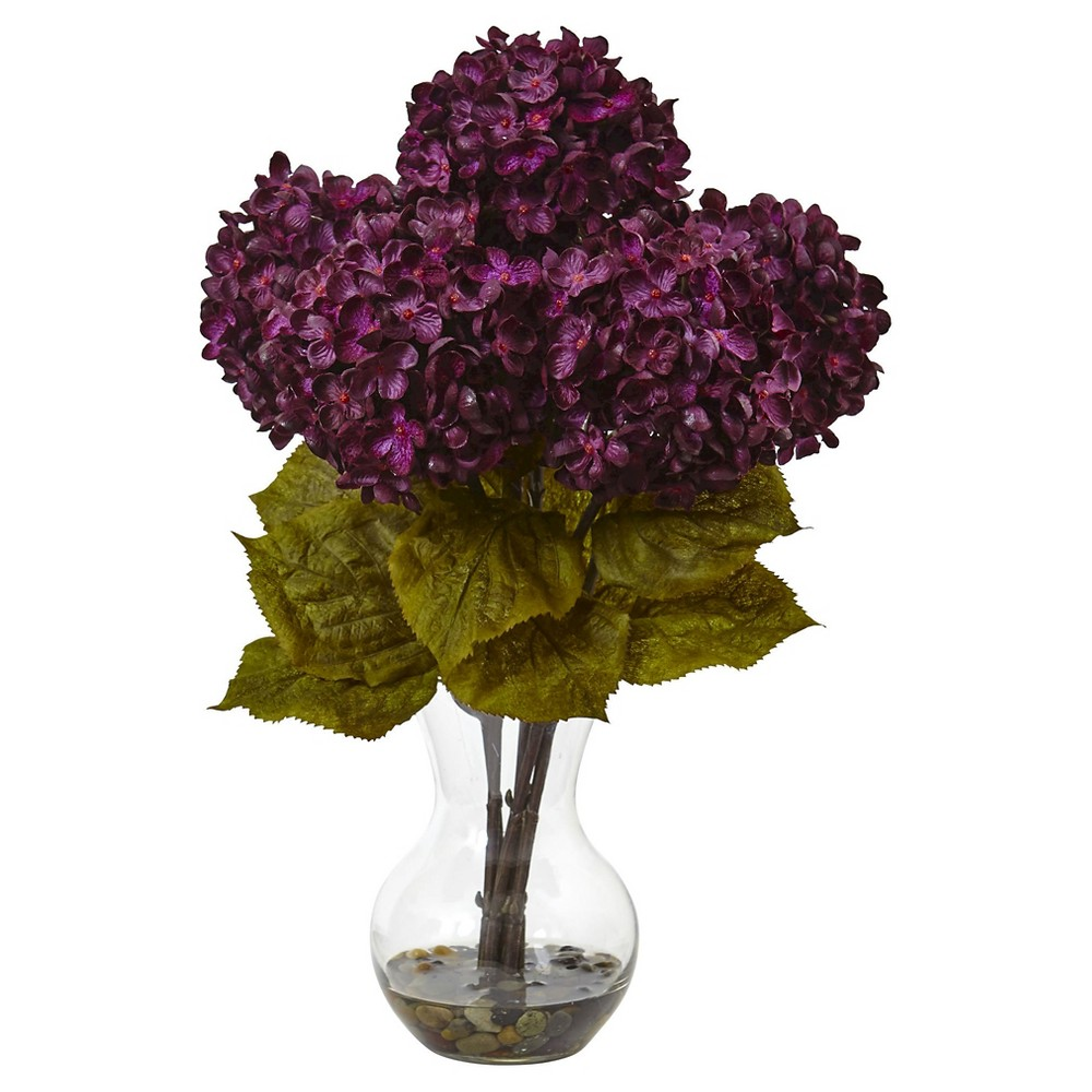 18H Hydrangea Silk Flower Arrangement with Glass Vase - Nearly Natural, Purple Tall blooming hydrangea bundles in brilliant autumnal colors welcome the new season. Handcrafted and finely shaped, the rich, mixed hues of this arrangement mimic a true hydrangea. With leafy green stems and faux water vase, this arrangement is ready for display. Place the flowers next to candles and books for the perfect coffee table vignette. Color: Purple.