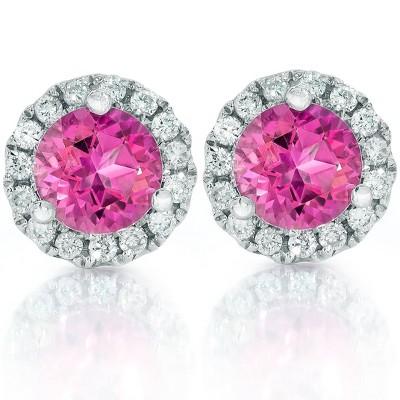 Pompeii3 1ct Pink Topaz & Diamond Halo Studs 10K White Gold