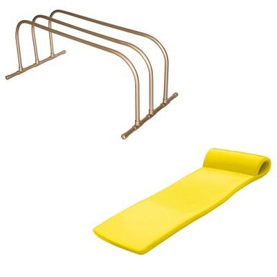 TRC Recreation PVC Pool Float Storage Drying Rack w/ 70 Inch Foam Lounger Yellow