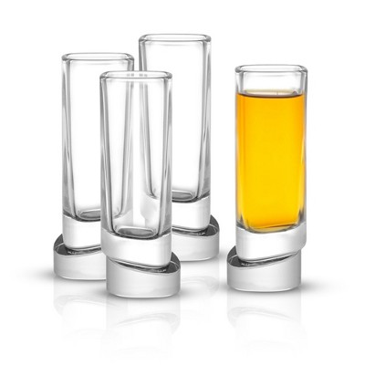 JoyJolt Aqua Vitae Square Shot Glass - Set of 4 Crystal Shot Glasses Set with Off Set Base - 1.5 oz