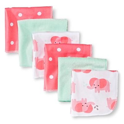 Baby Girls' 6 Pack Elephant Print Lightweight Washcloth Set - Circo™