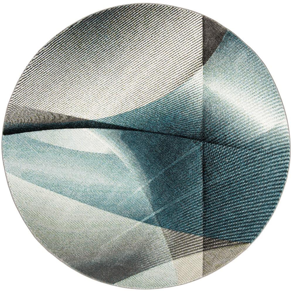 67 Geometric Loomed Round Area Rug Gray/Teal - Safavieh Top
