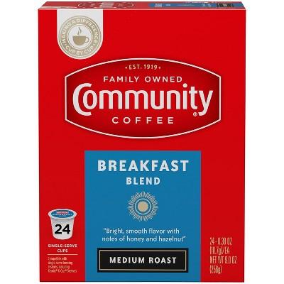 Community Coffee Breakfast Blend Medium Roast Coffee - Single Serve Pods - 24ct