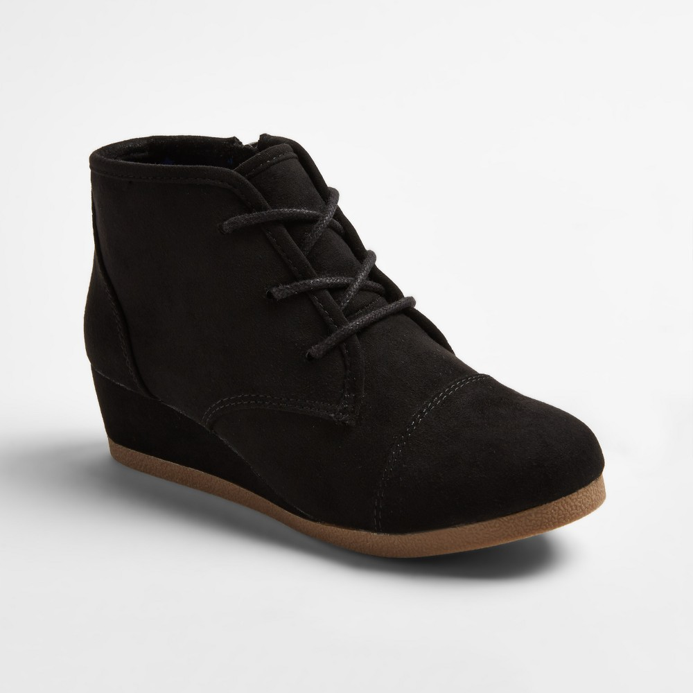 Girls' Shelby Wedge Laceup Bootie - Cat & Jack Black 3